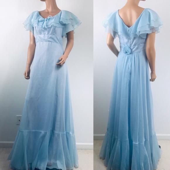 Vintage Dresses Long Blue Prom Dress Formal Maxi Pastel Poshmark